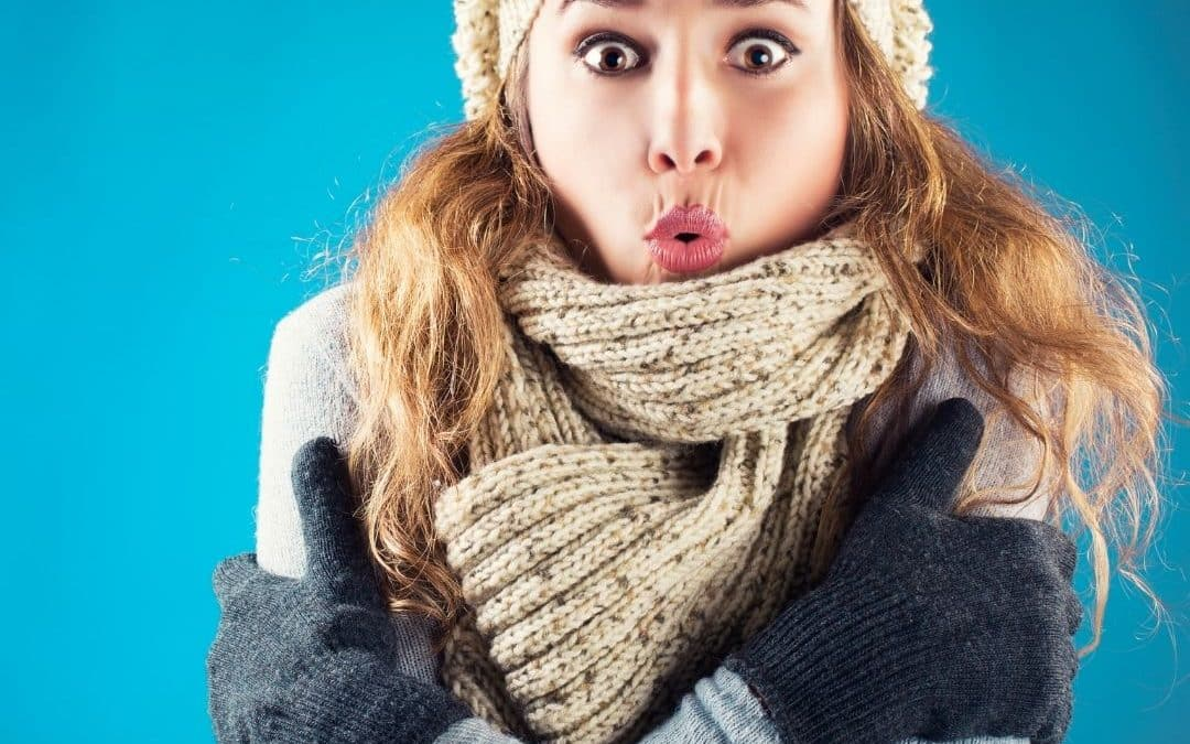 Freezing cold woman struggling with freeze points in sales conversations.